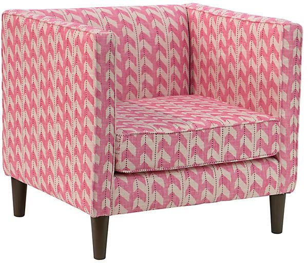 One Kings Lane Huey Accent Chair - Pink Jetty Stripe | Products