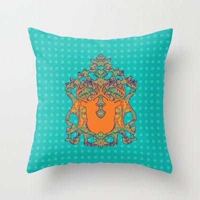 Orange Bloom : Blue Polka Throw Pillow by Geetika Gulia - $20.00