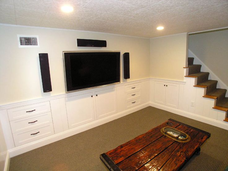 64 best images about basement ideas on pinterest for Media room built in cabinets
