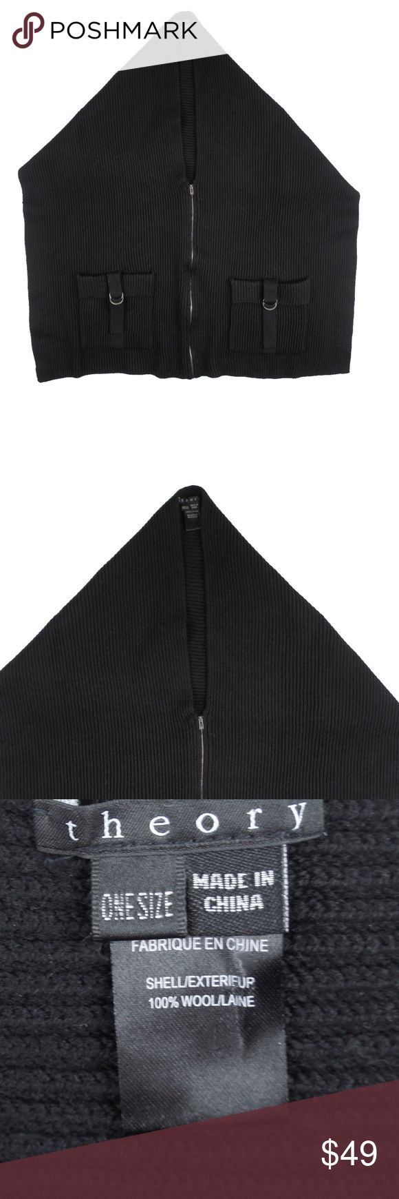 """Theory Black Open Back Ribbed Smock Poncho Sweater Size -  One Size  This black wool ribbed poncho/smock sweater form THEORY is in excellent condition. It features a zipper front, and front pockets. The front is much longer than the back. The back just drapes over the shoulders as seen in the last picture. Pullover style. 100% Wool.  Measures:  Total Length: 28"""" in front Theory Sweaters Shrugs & Ponchos"""