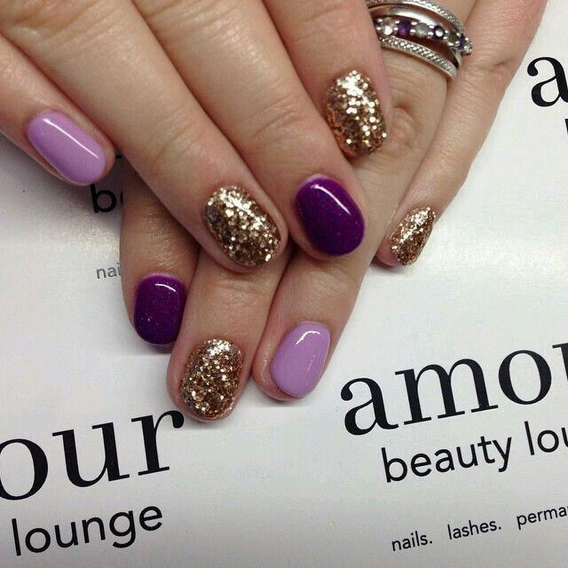 Purple with gold glitter accent nail