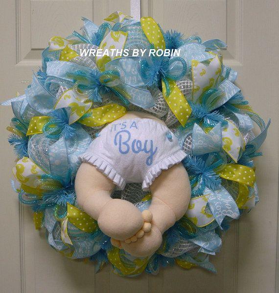 It's A Boy Baby Wreath Baby Boy Wreath Baby Butt by wreathsbyrobin