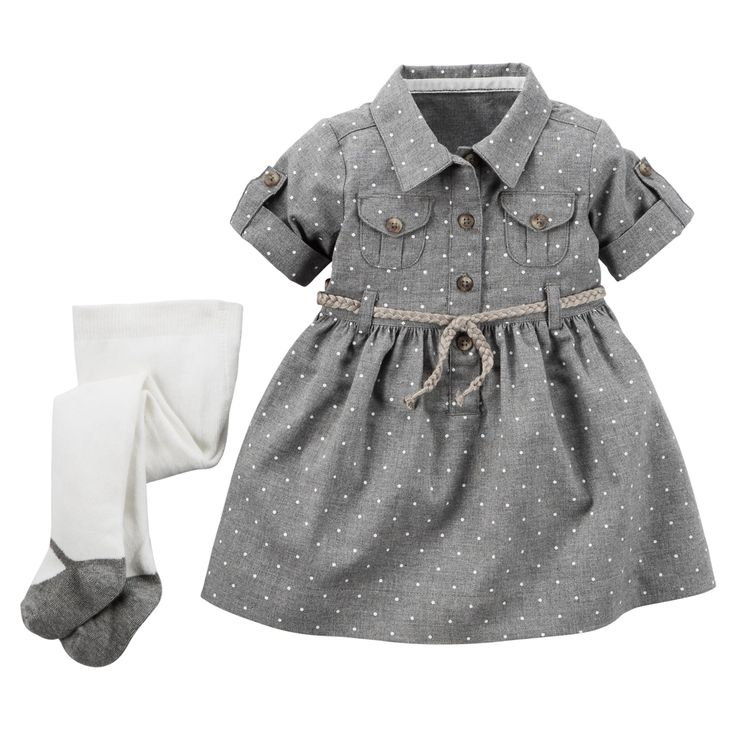 Baby Girl 2-Piece Flannel Shirt Dress & Tights Set | Carters.com