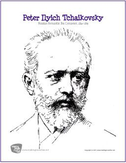 Peter Ilyich Tchaikovsky | Free Composer Coloring Page - http://makingmusicfun.net/htm/f_printit_free_printable_worksheets/tchaikovsky-coloring-page.htm