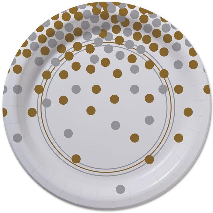 Bulk Confetti Celebration Dessert Plates 200 ct - Napkins.com  sc 1 st  Pinterest & 77 best Gold u0026 Silver Party Supplies u0026 Decorations images on ...