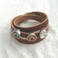 Leren armband donkerbruin - Love Crystals