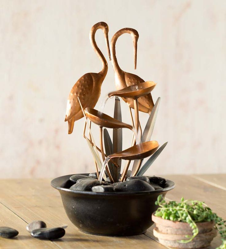 New two cranes metal indoor fountain on sale for Indoor fountain design ideas