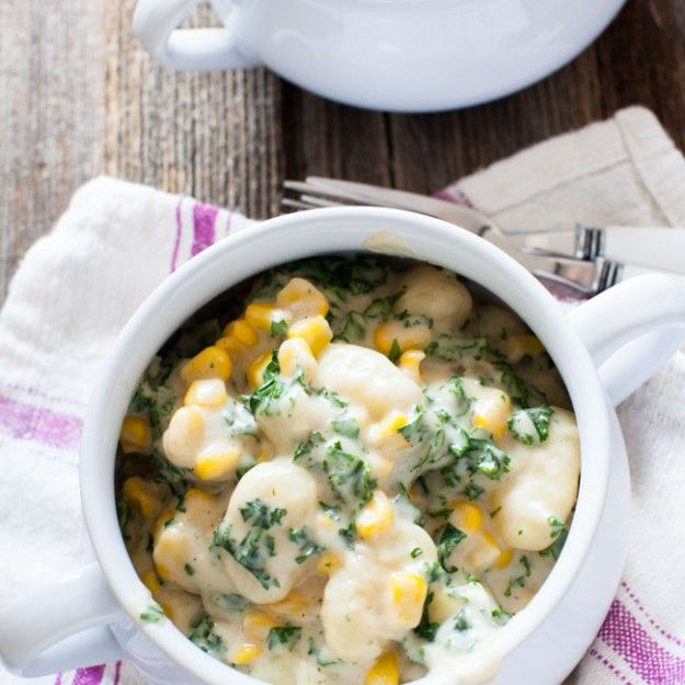 Brown Butter Gnocchi Mac & Cheese with Kale and Corn from thelittlekitchen.net