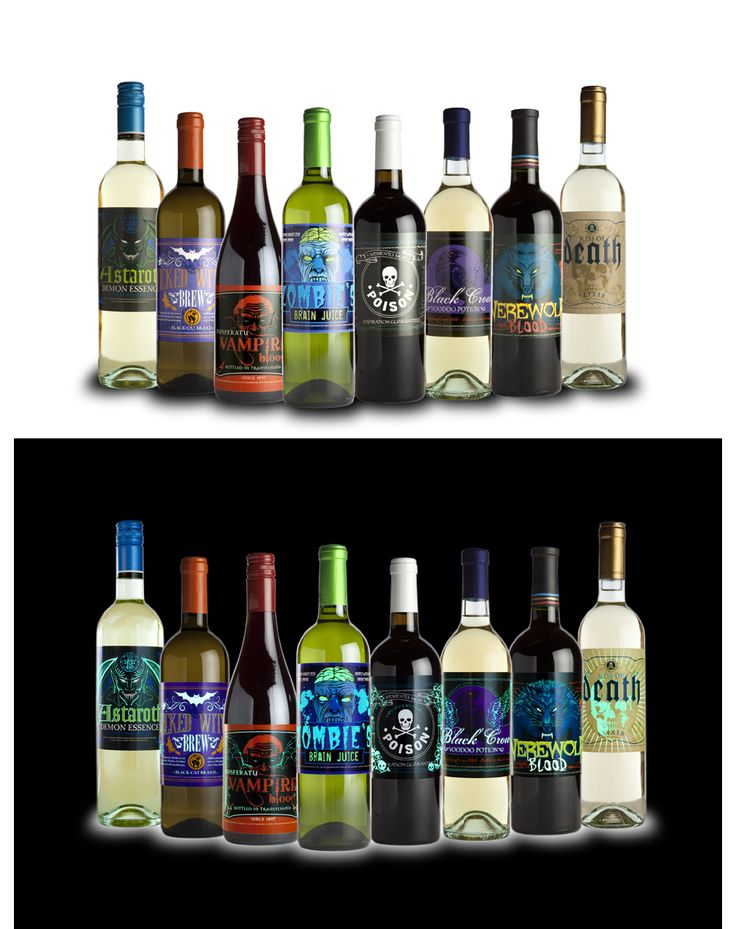"Creepy Wine ""Glow"" Slap Stickers Bottle Labels  Spirit Halloween Store online"