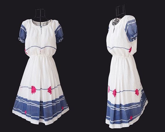 Adorable Vintage Dress // Short puffy sleeves // White by LPSNUG
