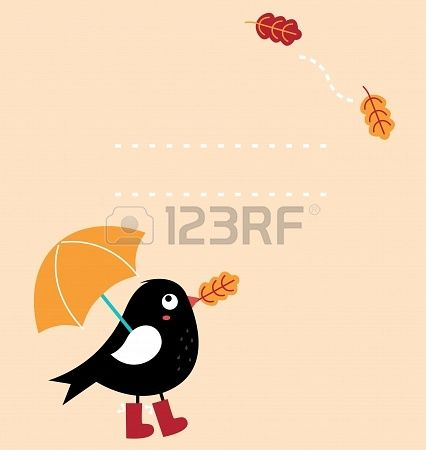 Autumn greeting Card with fallen leaves and black Bird with copy space. Vector Illustration