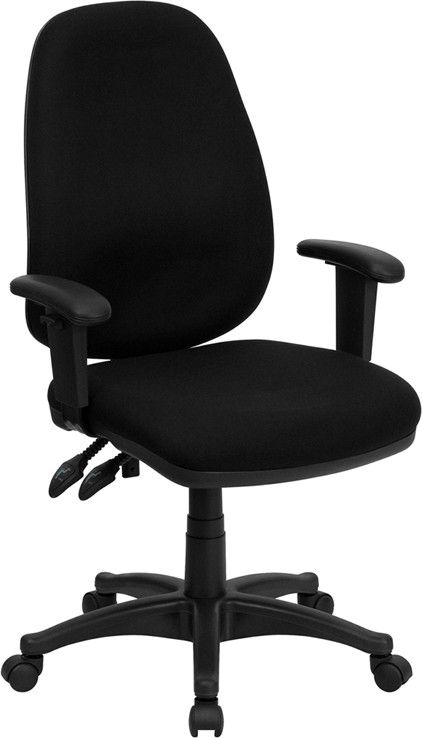 High Back Black Fabric Ergonomic Computer Chair with Height Adjustable Arms BT-661-BK-GG by Flash Furniture