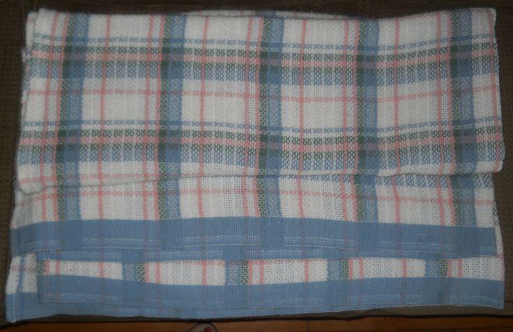 Vtg Fieldcrest Cannon Acrylic Blanket Pastel Plaid Woven Pink Blue Green Twin SZ #FieldcrestCannon #Cottage