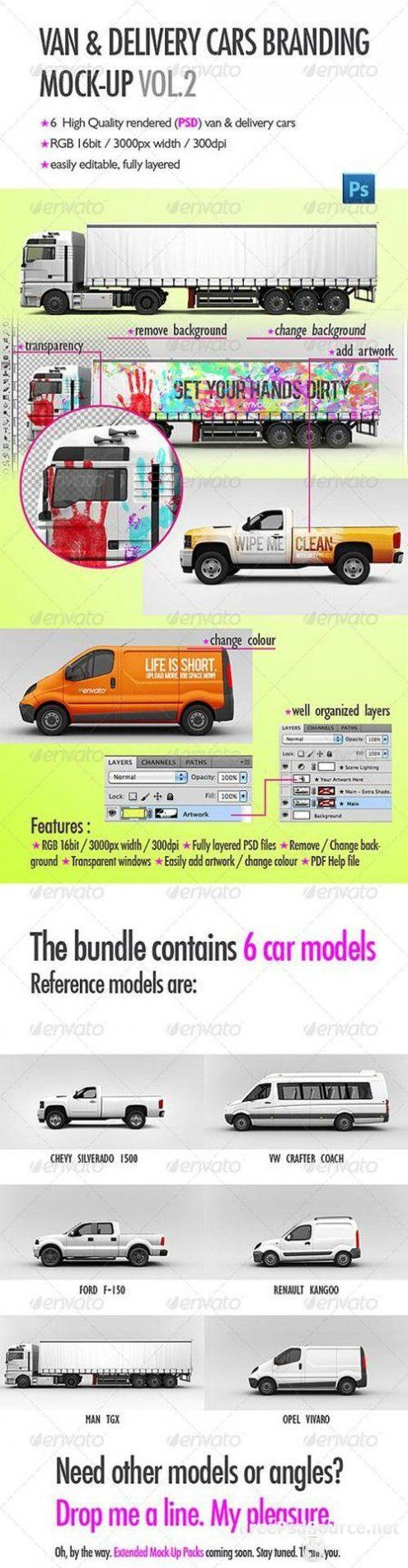 Psd sources Van & Delivery Cars Branding Mock-Up Vol 2 Download,PSD free GraphicRiver Download