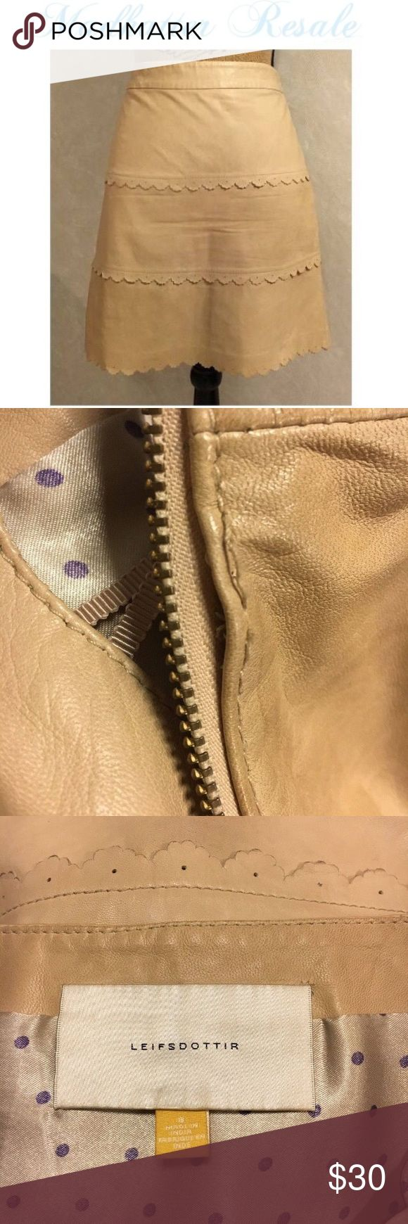 "LEIFSDOTTIR Sz 8 Tan Anthropologie  Leather SKIRT This is a neat side zip leather skirt. The waist measures 31"" & length is 17 1/2"" .  Has a few spots/dinginess in different locations and loose threading at zipper edge. Has not been dry cleaned. LEIFSDOTTIR Skirts A-Line or Full"