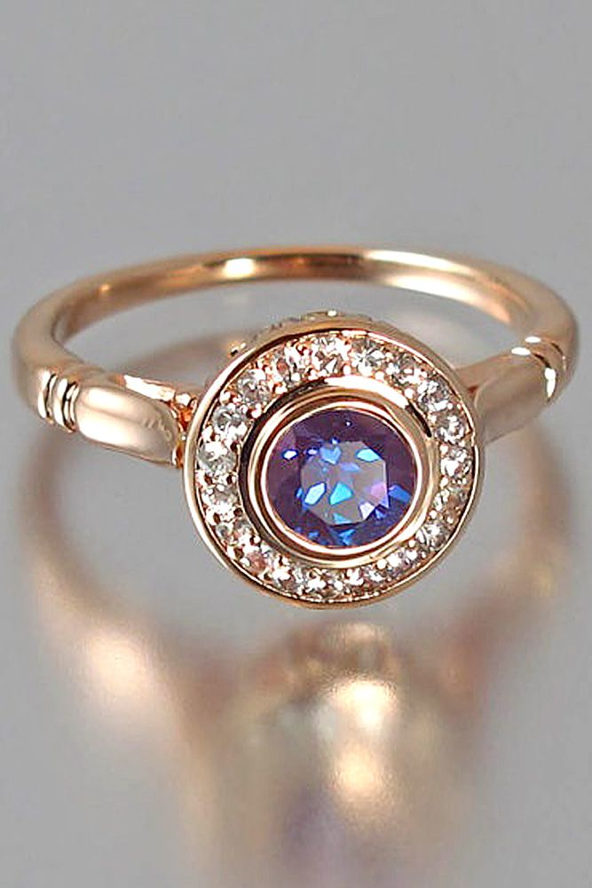colorful round cut engagement rings 6