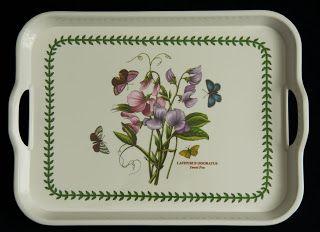 Portmeirion  Melamine Serving Tray -- Botanic Garden pattern - Sweet Pea, large size.