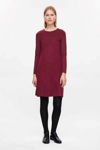 COS image 1 of Contrast panel jersey dress in Magenta