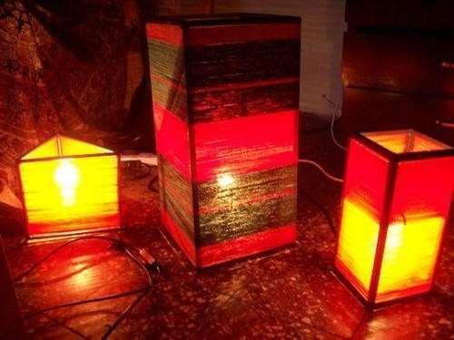 lampara artesanales de hilo hachas a pedido