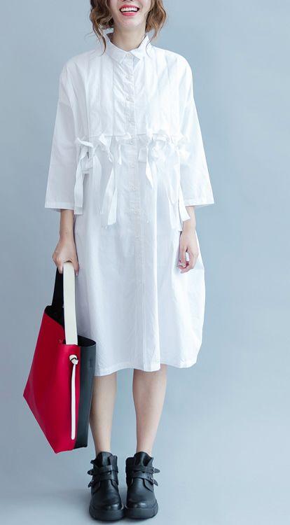 2016 long sleeve bows white cotton dresses plus size tent dress long cotton maternity shirts blouse cute design
