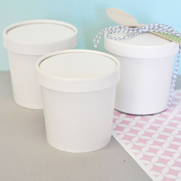 These Ice Cream containers are perfect for the crafty bride or mommy to be! An adorable mini size, DIY Blank Mini Ice Cream Containers can be customized into a completely unique party favor that coord