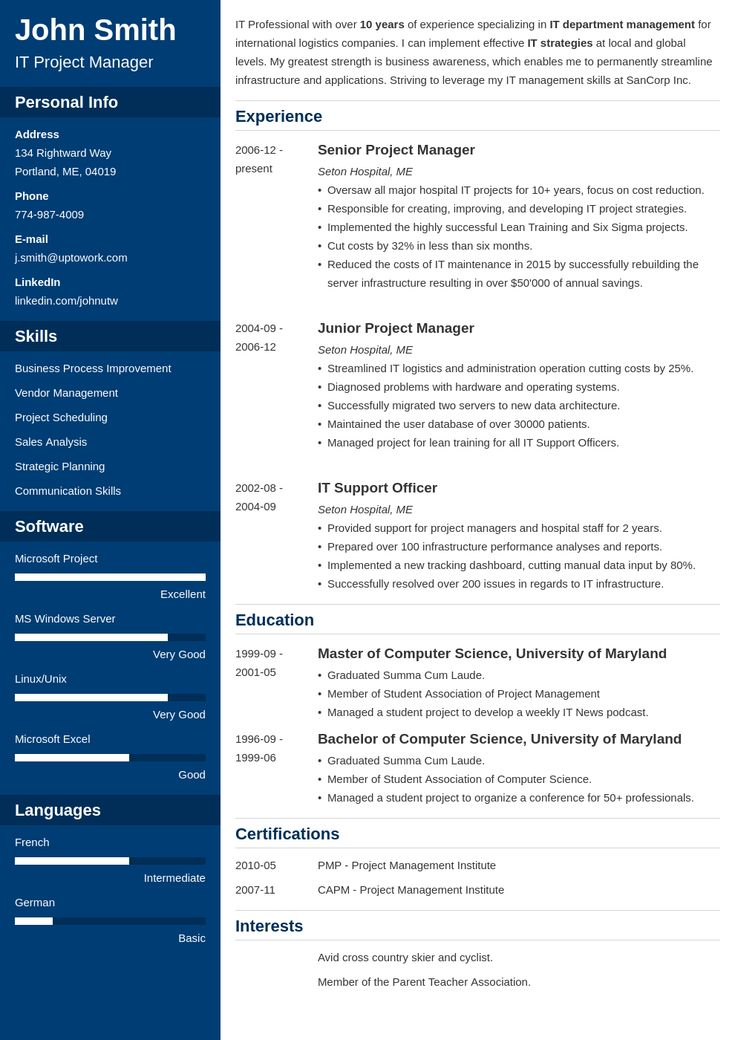 Resume Template Download in 2020 Resume template