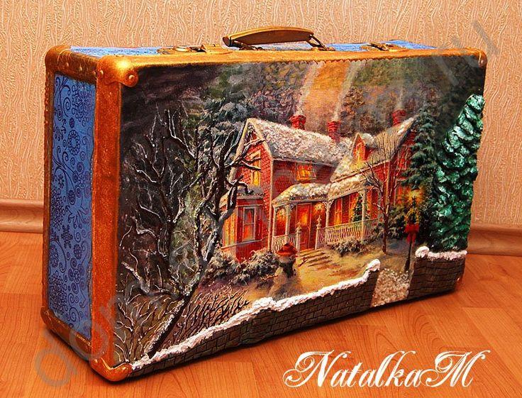 Декупаж старого чемодана своими руками мастер класс салфетками 95