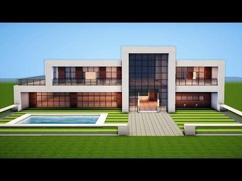 Minecraft Einfaches Modernes Haus Design Minecrafttutorial Bauplan