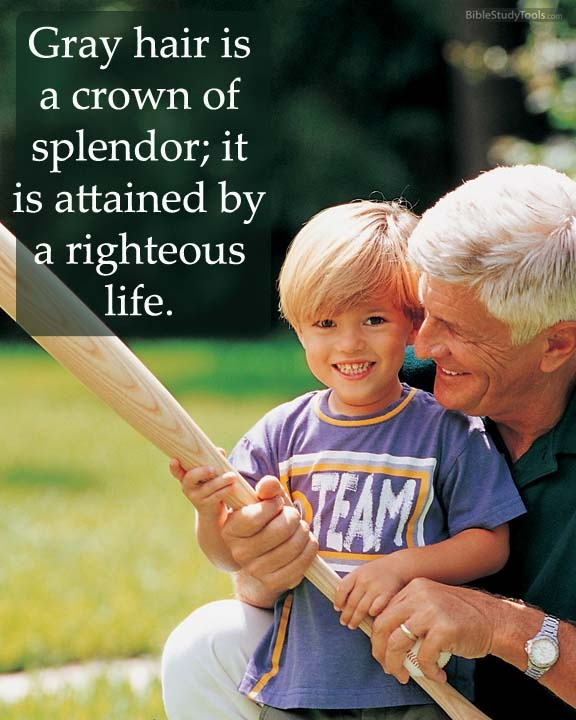Gray hair is a crown of splendor; it is attained by a righteous life. Proverbs 16:31  -- http://www.biblestudytools.com/proverbs/16-31.html