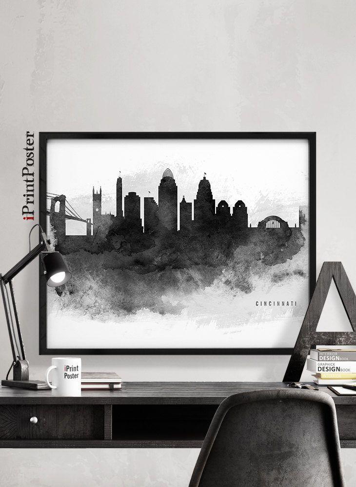 Cincinnati print, Cincinnati skyline, Cincinnati black & white, Ohio print, Travel, City art, Art print, Wall art, Home Decor, iPrintPoster by iPrintPoster on Etsy