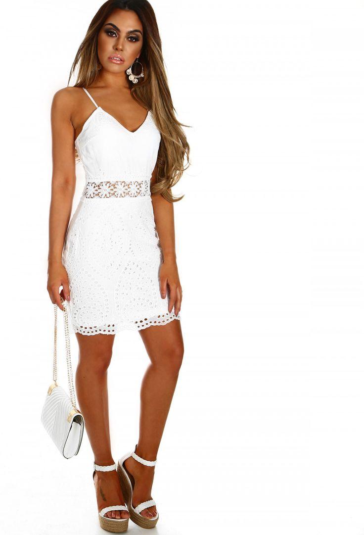 Saint-Tropez White Embroidered Crochet Mini Dress | Pink Boutique