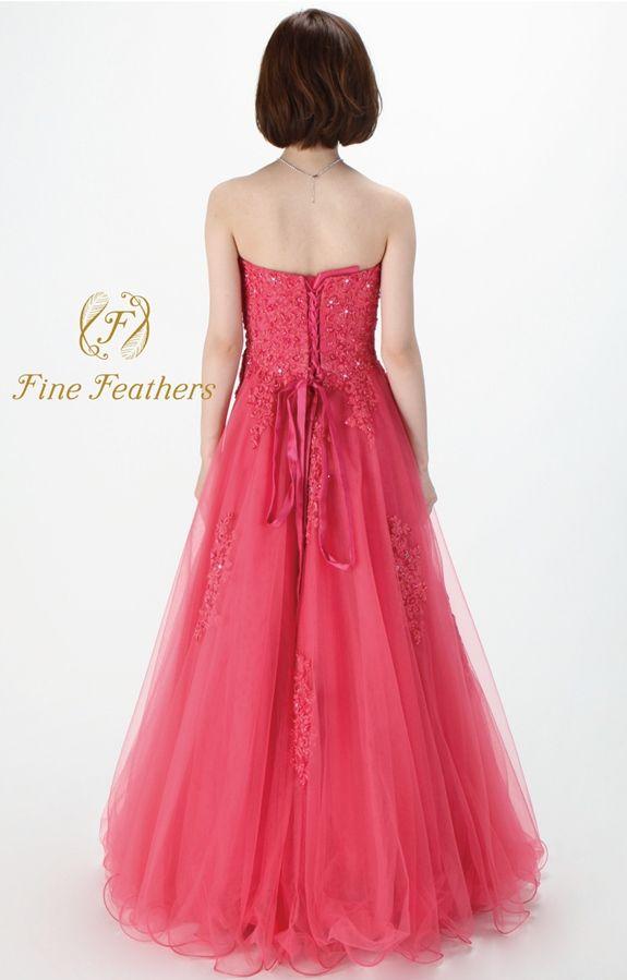 FineFeathers(ファインフェザーズ)のAラインロングドレスです。カットレースとチュールのコントラストが美しい、優美さと貴賓を纏ったゴージャスな1着です。ルージュピンク以外に他3色展開になります。全国即日発送可。大阪に実店舗もにございます。