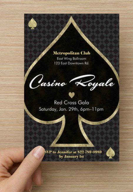 Set the tone right from the start with a fun, sexy invite. You can't go wrong with black and gold. Spring for the foil accents if you can. Find everything you need to plan your own James Bond Casino Royale party at www.sparklerparti...