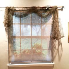 Fishing pole curtain rod, fish net curtains, fishing bedroom decor, fishing shack, fishing hut, fishing theme