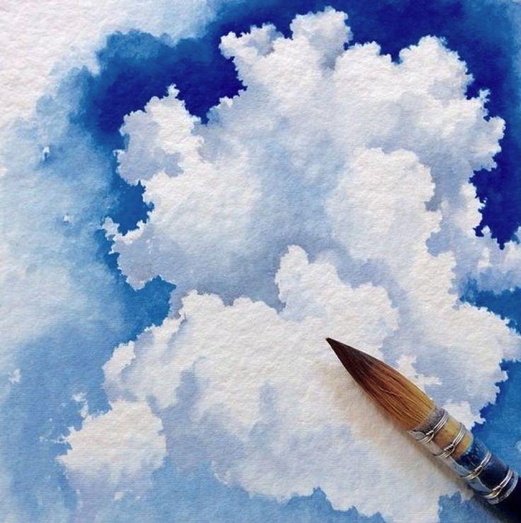 Небо рисунки гуашью