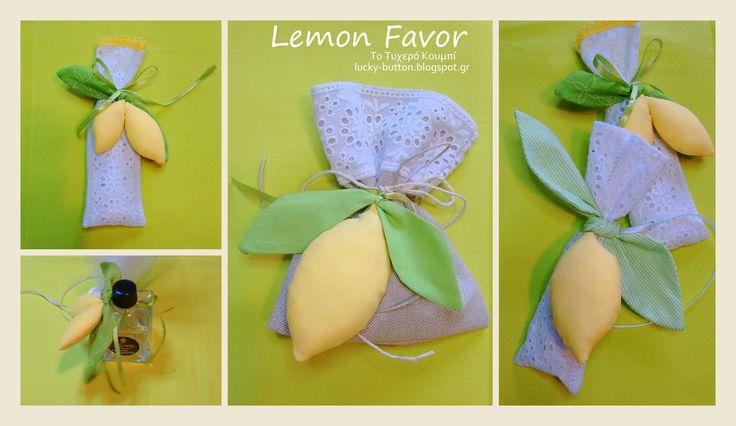 Lemon favor, μπομπονιέρα υφασμάτινο λεμόνι