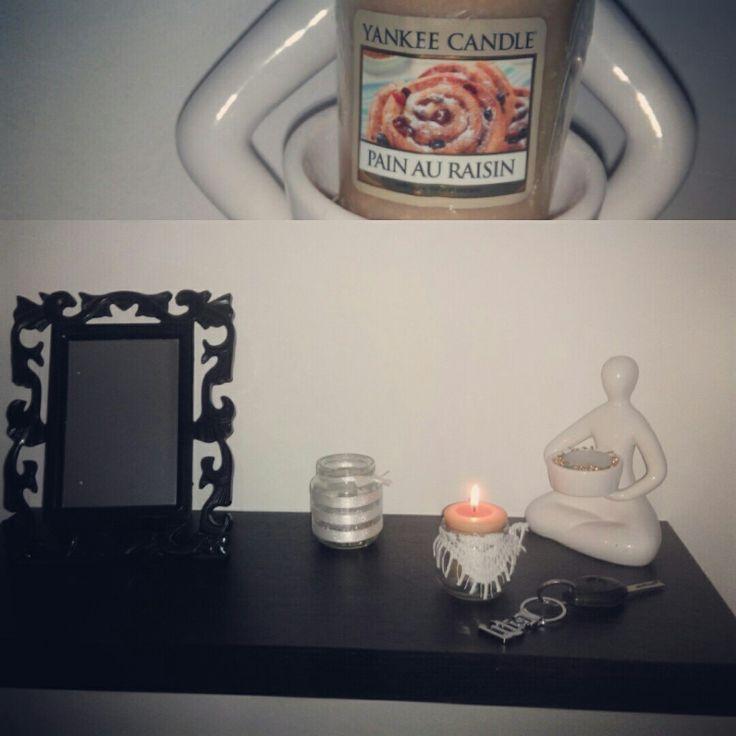 #Yankee_candle #pain_au_raisin #magasin Mr_bricolage #customiser_by_moi Dans un petit pot bébé décorer  avec de la dentelle