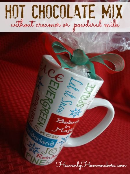 Homemade Hot Chocolate Mix Without Dry Milk or Creamer {With Free Printable Gift Tags and a Dairy Free Option}