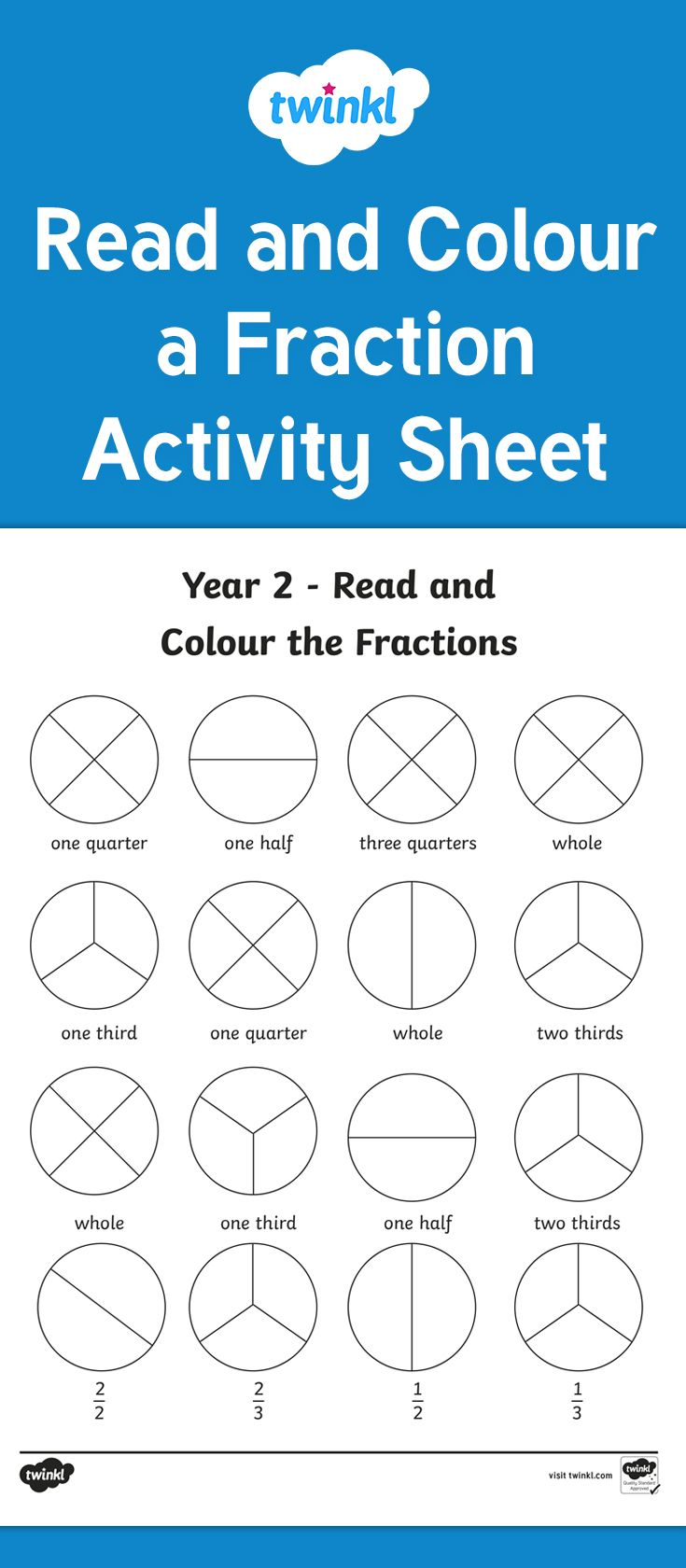 Year 2 Fractions Read And Colour Worksheet Fraction Activities Fun Math Activities Ks1 Maths Worksheets Division worksheet year twinkl