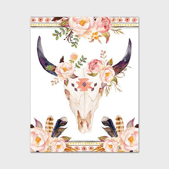 Tête de taureau Estampe 8 x 10 Télécharger par MossAndTwigPrints