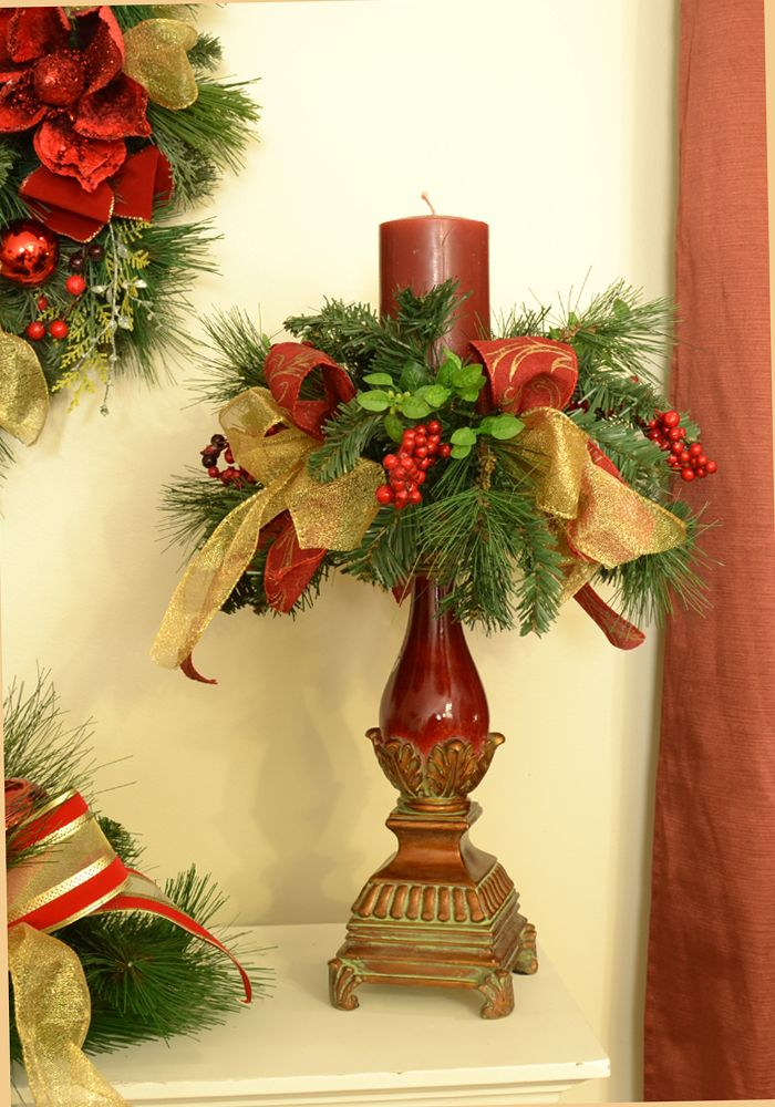 Decorated Christmas Candlestick - Click Image to Close