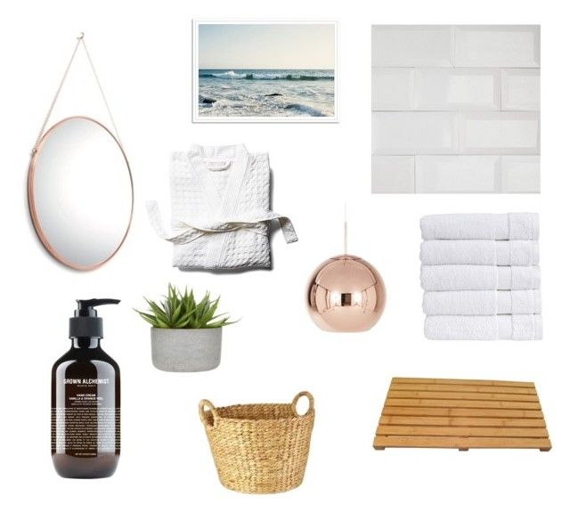 En suite by zoe-alexa-robinson on Polyvore featuring interior, interiors, interior design, home, home decor, interior decorating, Tom Dixon, Christy, Peacock Alley and Grown Alchemist