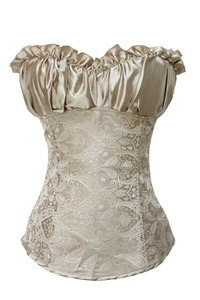 Ladies Women Wedding Creamy Lvory Renaissance Satin Corset Basque Top Size XXL   eBay