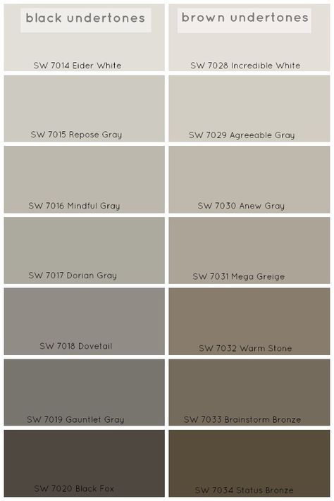 Grey paint colors with black or brown undertones