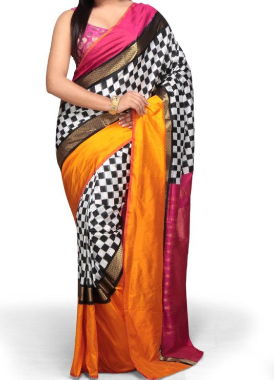Ikat Check Latest Saree for Younger India women, Latest and trendy design best quality