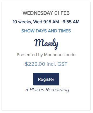 Course & event dates - http://bonjourbabies.com.au/