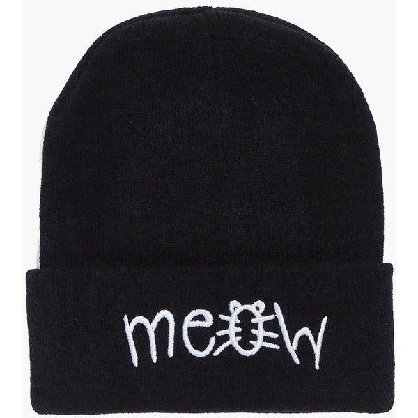 Boohoo Eliza Meow Cat Beanie Hat ($8) ❤ liked on Polyvore featuring accessories, hats, black, snood hat, beanie cap, mitt, beanie cap hat and cat hat