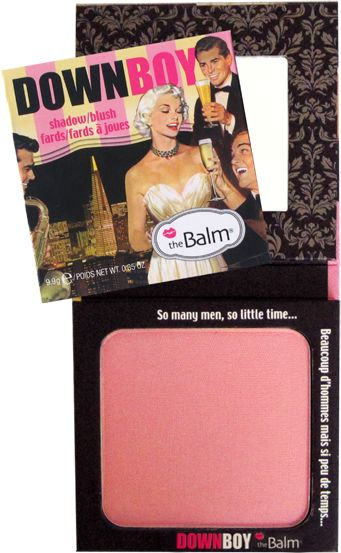 DownBoy  Shadow/Blush  - A polished and put-together woman makes the boys go wild and this baby pink shadow/blush adds just the right amount of color to ensure that you turn heads. Our forumla is made of finely-graded powder, which helps provide an even and smooth texture to the skin. The light-reflecting particles also give off an aura of elegance without detectable shimmer. When you can't keep the boys away, blame it on the blush.  $21