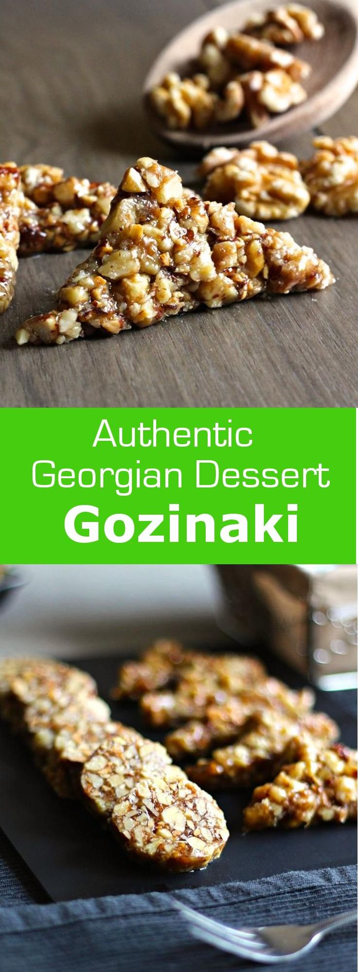 Gozinaki, a nougat made from nuts and honey, is a Georgian treat traditionally made for Christmas and New Year. #dessert #vegetarian