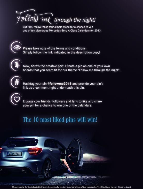 """#FollowMe2013 è la nuova iniziativa Mercedes che su Pinterest coinvolge i propri fan attraverso nuove pratiche di """"user generated content""""! Guardate il risultato! ;)    pinterest.com/MercedesBenz/follow-me-through-the-night-2013/"""